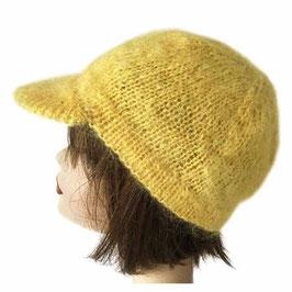 Mütze Dächlikappe handgestrickt gelb VINTAGE 1970s