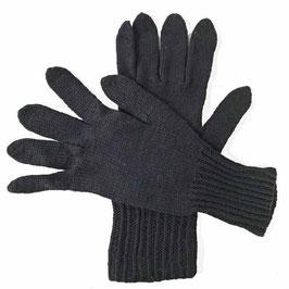Herrenhandschuhe Fingerhandschuhe schwarz handgestrickt Gr. L/XL VINTAGE 1960s
