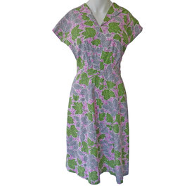 Kleid Gr. S Baumwolle 1940s lila-grün VINTAGE