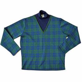 Pullover Gr. M Herren Rollkragen VINTAGE 1960s blau-grün kariert