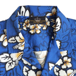Hemd Gr. S Herren Hawaiihemd VINTAGE blau 80s Malven