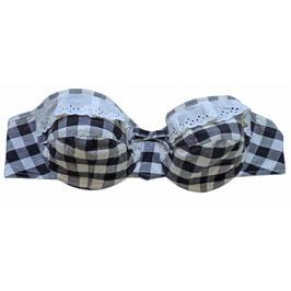 Bikini-Oberteil Gr. S Vichykaro schwarz-weiss 50s