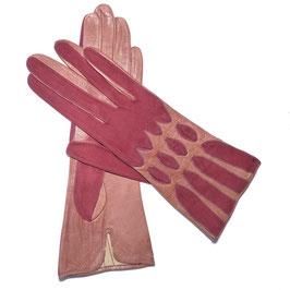 Handschuhe Gr. XS Leder rot/rosa VINTAGE 1940s mit Velours