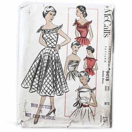 Schnittmuster McCalls Weites Kleid mit Foulardausschnitt 1950s Gr. M/L