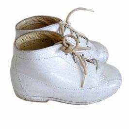 Babyschuhe weiss f. 1-jährige zum Schnüren Leder Ledersohle VINTAGE 1950s