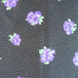 Stoff  1.40 m (1.45m breit) Baumwolle Designer G.F. Ferre MIRHON schwarz lila Rosen