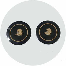 Knöpfe schwarz 2 Stk. mit Löwenkopf