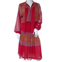 Kleid Gr. M/L Maxi dress SORA rot Paisley Viscose Vintage Plissee