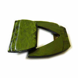 Gürtelschnalle grün olivgrün gemasert Bakelit 2-teilig VINTAGE 1930s