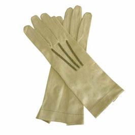 Handschuhe Stoff Gr. S VINTAGE ca. 1910s vanille mit schwarzer Stepperei und Druckknöpfen