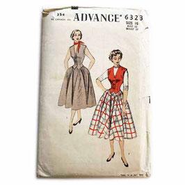 Schnittmuster ADVANCE Jupe/Rock mit Weste/Gilet Vintage 1950s Gr. S/M