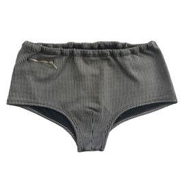 Badehose Gr. M/L Herren VINTAGE 1970s Wellenreiter vertikale Streifen grau-schwarz