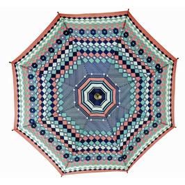Schirm 80s mit Holzgriff rosa-türkis-d'blau