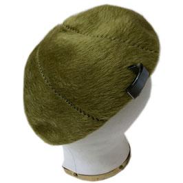 Berêt olivgrün haariger Filz VINTAGE 1960s Gr. 54-56