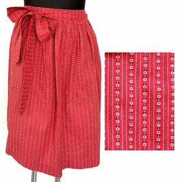 Dirndlschürze rot mit langen Bindebändern gestiftelt VINTAGE 1970s