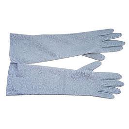 Handschuhe Gr. S/M festlich lang Lurex VINTAGE silber NOS 1970s