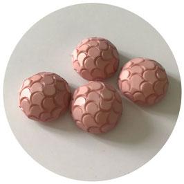 Knöpfe rosa halbrund mit Schuppenstruktur VINTAGE 1960s