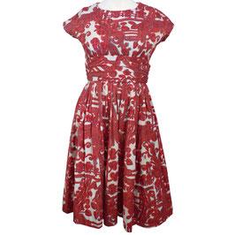 Kleid Gr. S/M Baumwoll-Pikee VINTAGE 1950s Petticoat  rot-weiss