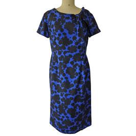 Kleid Gr. M/L Seide blau-schwarz VINTAGE 1970s Schluppe