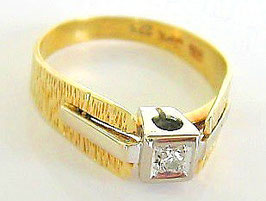 Goldringe 14kt 585 Gold Ring Solitär Diamant Ring mit Diamanten Art Deco Schmuck