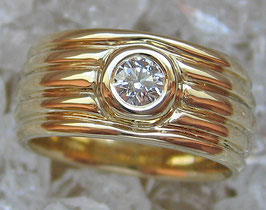 Goldringe Designerring Brillant Ring Solitär 14kt 585 Gold Ring mit Diamant