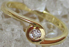 Goldringe Solitäre 14kt 585 Gold Ring Brillant Ring mit Solitär Solitärring