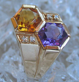 Brillant Ring in aus 14kt Gold Ring Diamant Ring mit Citrin Amethyst massivgold