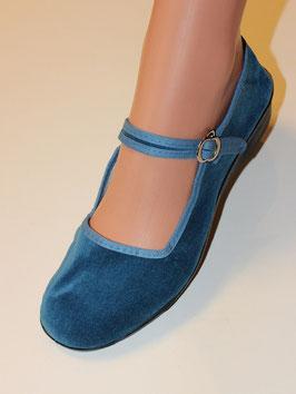 Ballerinas, Samtschuhe Jeansblau
