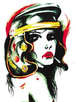 Dame mit Zigarette und Hut