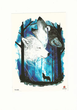 Zwei Wölfe blau