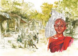 Carrière de bouddhas et jeune moine