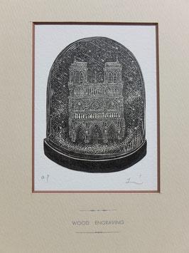 商品名 木口木版画「ノートルダム寺院」黒インクバージョン