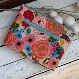 Kosmetiktasche / Devon Pouch / groß / Blumen / natur & apricot