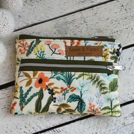 Kosmetiktasche / Devon Pouch / mini / XS / Blumen / natur & apricot