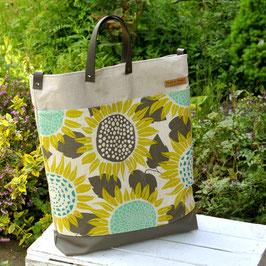 Elea Shopper / Umhängetasche / Blumen grau / beige