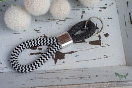 Schlüsselanhänger Segeltau / schwarz und weiß / Ostsee