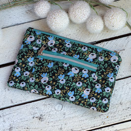 Kosmetiktasche / Devon Pouch / klein / Blumen / schwarz  & hellblau