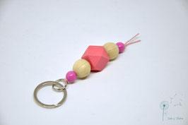 Schlüsselanhänger Holz / natur & pink