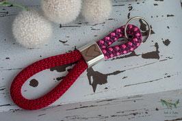 Schlüsselanhänger Segeltau / rot, weinrot und rosa / Herzsymbol