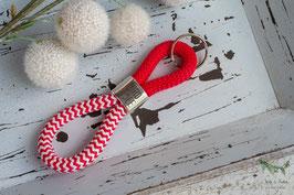 Schlüsselanhänger Segeltau / rot und weiß / Nordsee und Leuchtturmsymbol