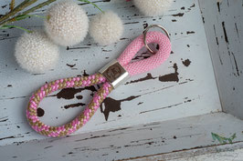 Schlüsselanhänger Segeltau / rosa und hellblau  / AHOI