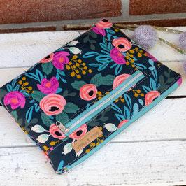Kosmetiktasche / Devon Pouch / groß / Blumen / schwarz, blau & apricot