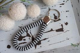 Schlüsselanhänger Segeltau / schwarz und weiß / Kind der Küste