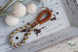 Schlüsselanhänger Segeltau / hellbraun und hellblau / Home sweet home