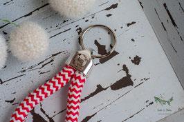 Schlüsselanhänger Segeltau / rot und weiß / AHOI