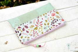 Kramtasche / zarte Blumen & Blätter / rosa & mint
