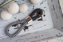 Schlüsselanhänger Segeltau / schwarz und weiß / bester Papa