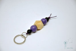 Schlüsselanhänger Holz / natur & lila,schwarz