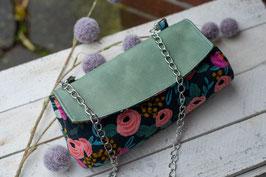 Abendtasche Claire / mint & Blumen im Farbmix