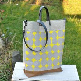 Elea Shopper / Umhängetasche / big Dots / gelb & grau